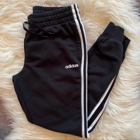 Women's adidas black drawstring jogger pants MED